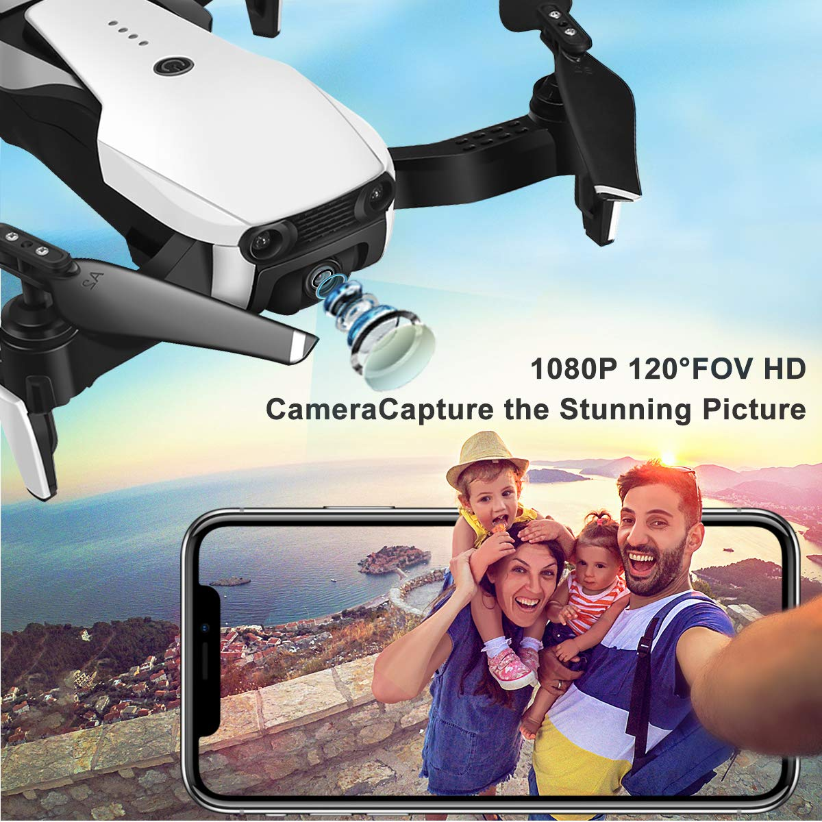 Drones with Camera 1080P for Adults,EACHINE E511 WiFi FPV Live Video Quadcopter with 120° FOV 1080P HD Camera, 17mins Long Flight Time Foldable RC Drone RTF - Altitude Hold, 3D Flip, APP Control by EACHINE (Image #2)