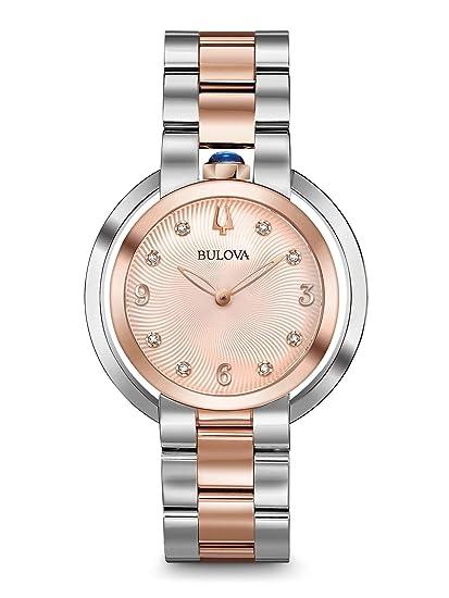 Bulova Reloj Analógico para Mujer de Cuarzo con Correa en Acero Inoxidable 98P174