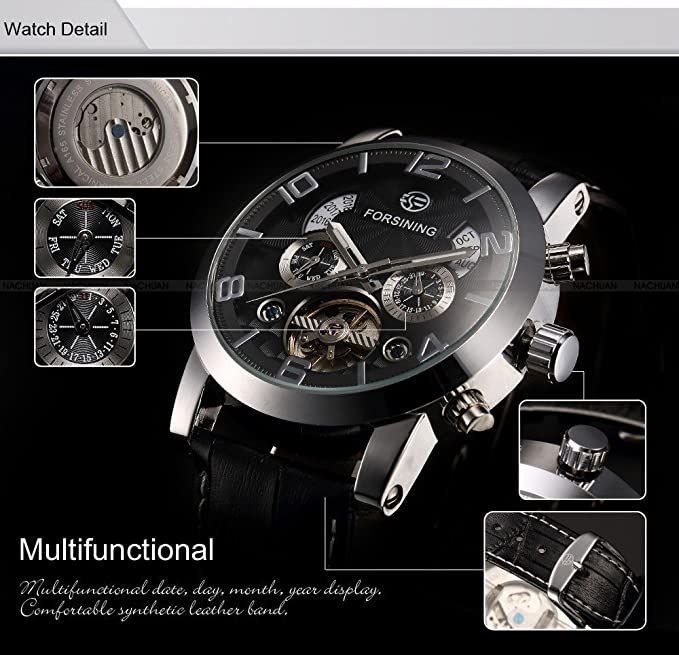Amazon.com: Mens Leisure Automatic Mechanical Wrist Watch with Tourbillon Design Dial Particular Year Week/Month/Date Display (SILVER+BLACK): Watches