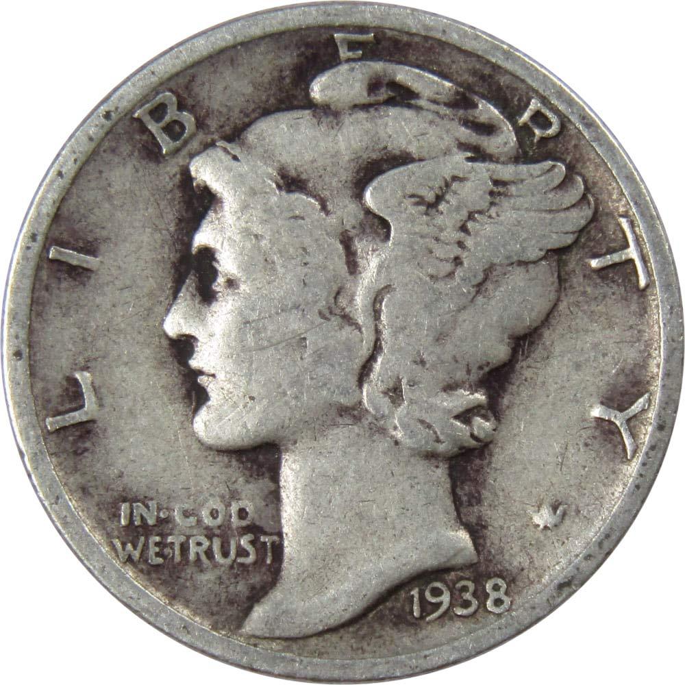 VERY GOOD 90/% SILVER COIN 1938-S MERCURY DIME CIRCULATED GRADE GOOD
