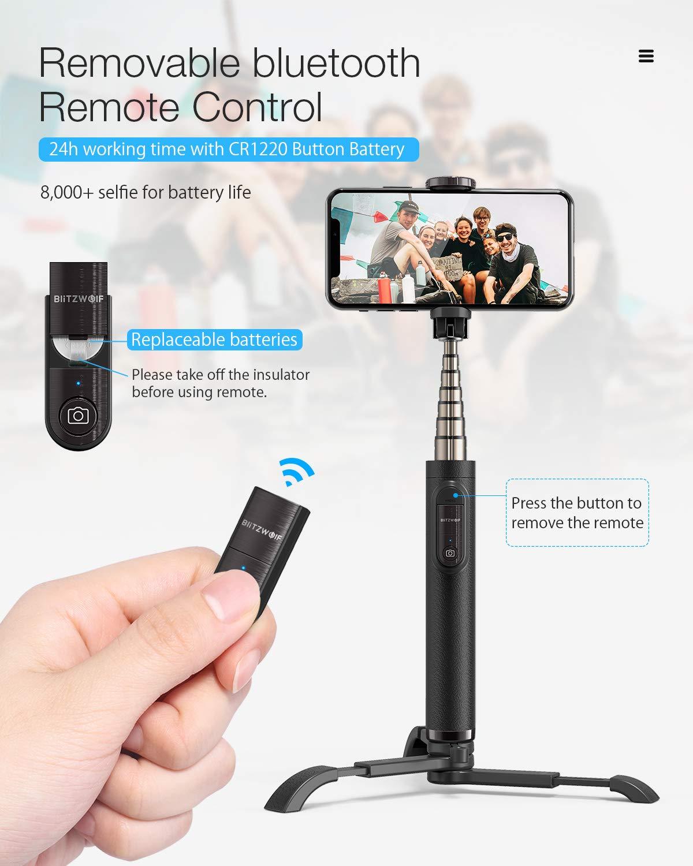 Galaxy S10//9//8//7//6 Android y etc. Selfie Stick de Aluminio Extensible para iPhone XS Max//XR//X//8//8P//7//7P//6S//6//5 Huawei BlitzWolf Palo Selfie Tr/ípode con Control Remoto Negro