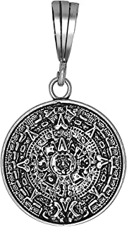 Amazon 925 sterling silver aztec charm mayan calendar pendant sterling silver aztec calendar charm pendant necklace antique finish with chain mozeypictures Images