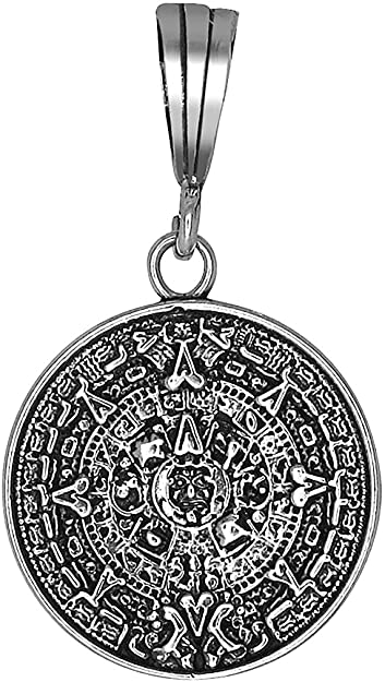 Amazon ejewelryplus sterling silver aztec calendar charm amazon ejewelryplus sterling silver aztec calendar charm pendant necklace antique finish with chain with 18 sterling silver rolo chain jewelry aloadofball Image collections