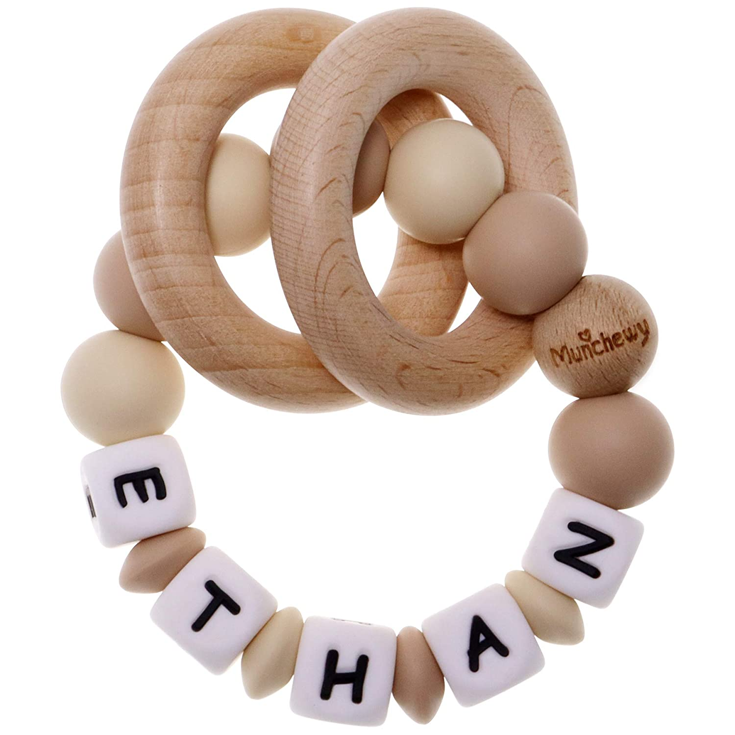 Munchewy Personalized Name Baby Rattle Teether Ring, Customizable Food Grade Silicone Sensory Chew Bracelet with Natural Organic Beech Wood Teething Rings for Baby Boys Girls(Oatmeal/Khaki)