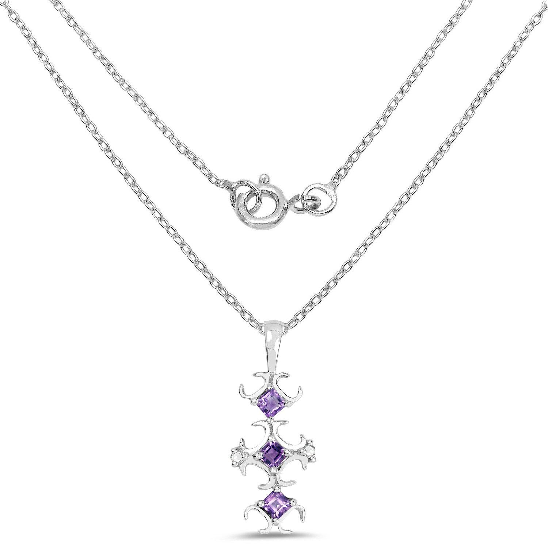 0.32 Carat Genuine Amethyst and White Diamond .925 Sterling Silver Pendant