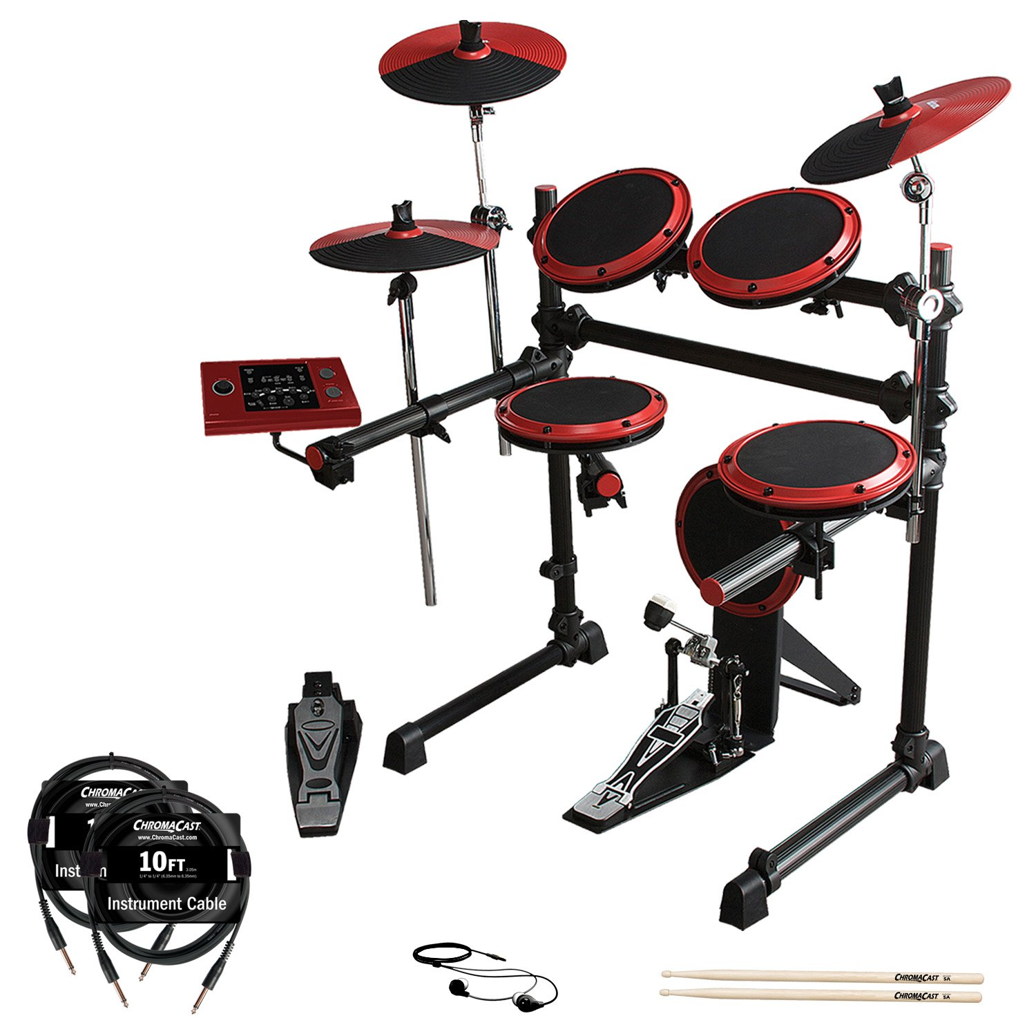 ddrum DD1 Complete Electronic Drum Kit with ChromaCast 10ft Cables, Earbuds & GoDpsMusic 5A Drumsticks