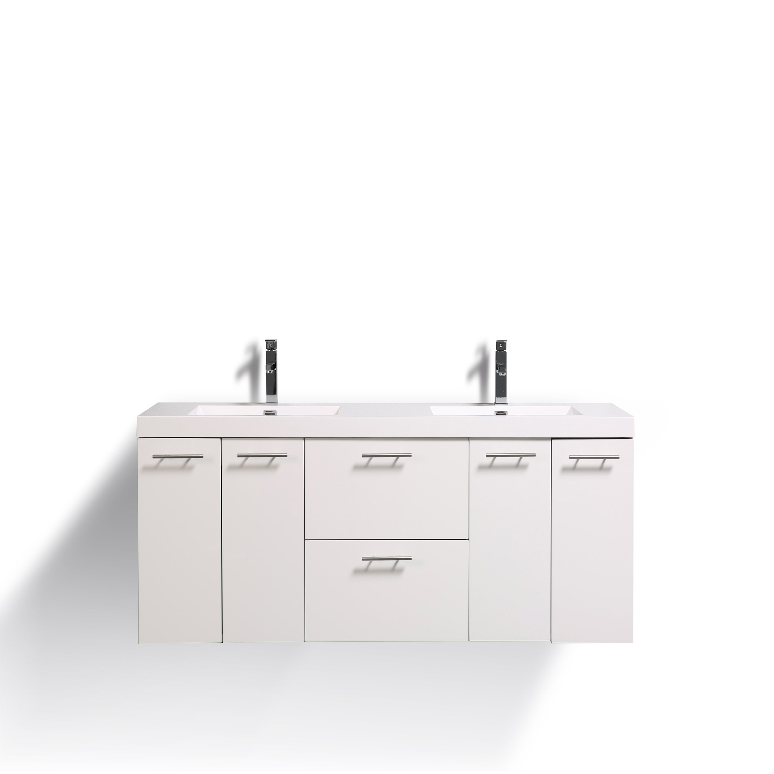 Eviva EVVN823-72WH-DS Luxury 72 inch White Bathroom Vanity with Integrated Acrylic Sinks, 72'',