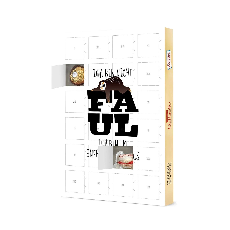 Ich Bin Nicht faul Adventskalender Typografie artboxONE Adventskalender XXL mit Pralinen von Ferrero Faultier