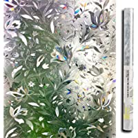 TERSELY Privacy 3D Window Film Decorative Window Cling Glass Film Reflective Window Film 60 x 200CM Non-Adhesive Window…