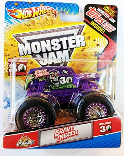 Amazon Com Hot Wheels Monster Jam Purple Spectraflames 30th Anniversary Grave Digger Die Cast Monster Truck Toys Games