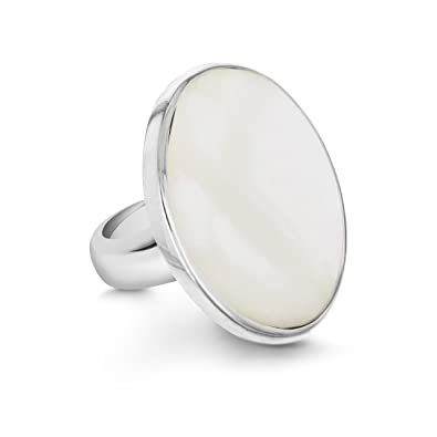 Tuscany Silver Sterling Silver Oval White Mother of Pearl Ring VzYaLl8