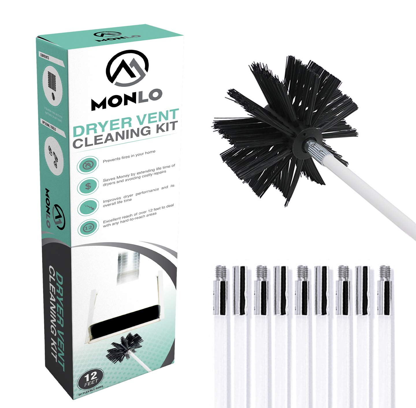 Flexible Dryer Vent Cleaning Kit, Lint Remover, Extends Up To 12 Feet With A Synthetic Brush Head. Can Be Used With Or Without A Drill - MonLo