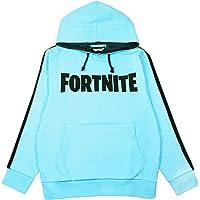 Fortnite Logo Hoodie for Boys   Children's Hooded Jumper   Blue Battle Royale Sweatshirt for Kids   Black Striped…