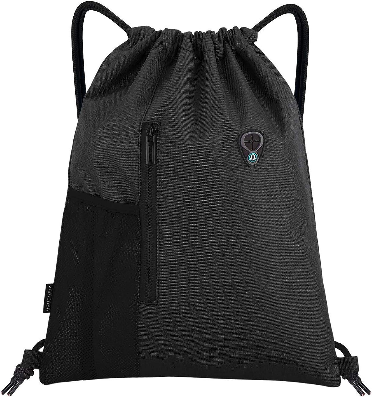 LIVACASA Drawstrings Backpacks Bags for Men Sackpack for Women USB Port Headphone Hole Design Waterproof