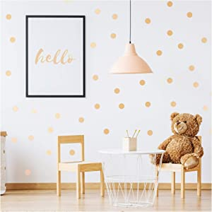 PapaKit Large Round Polka Dot Confetti Wall Decal Baby Nursery Child Kid Boy Girl Bedroom Home Decor | Creative Art Design Pattern | Safe Removable Adhesive (Champagne Gold, 2 Inches x 120 Pieces)