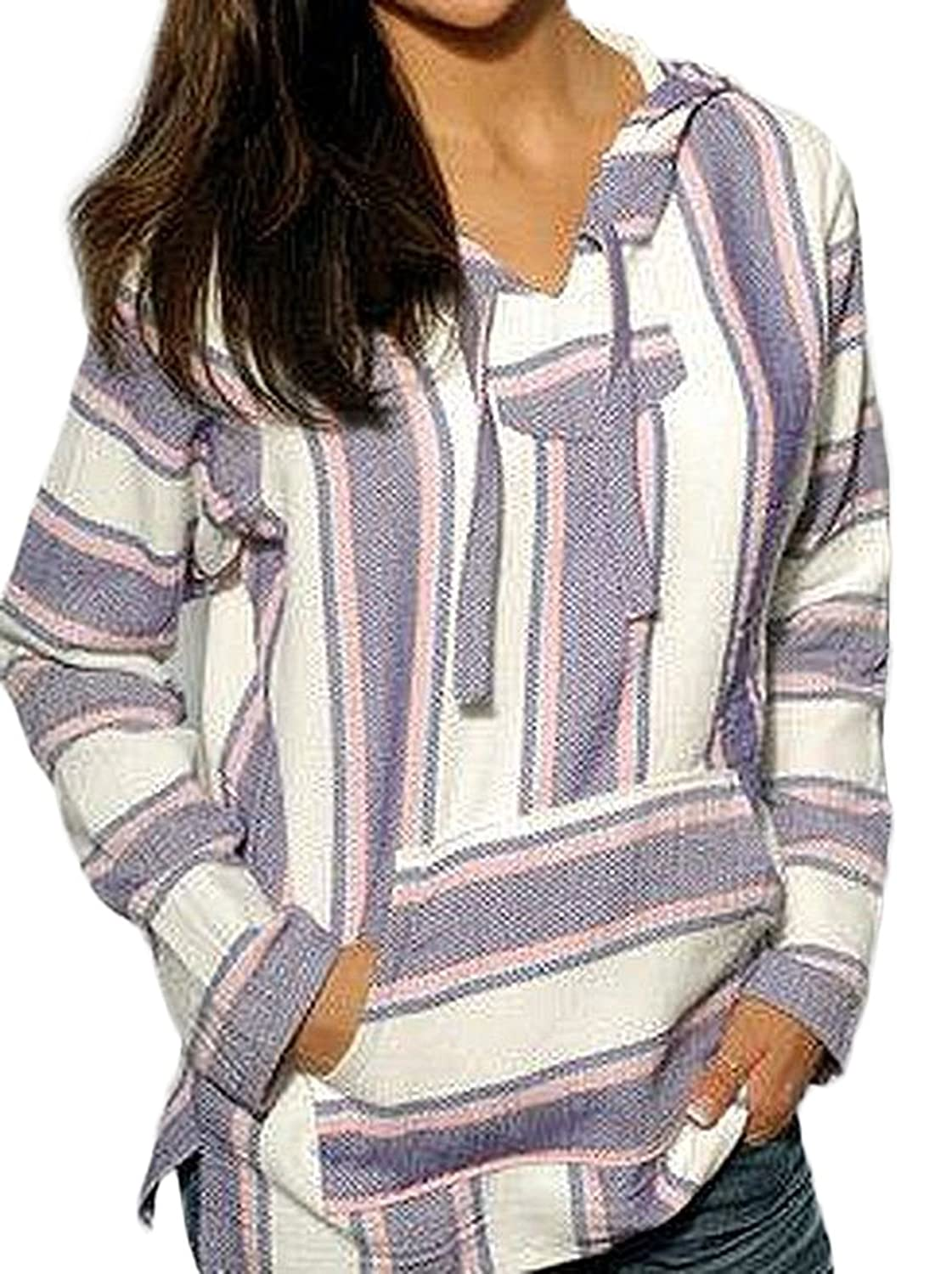 Mexican Baja Hoodie Sweater Jerga Pullover Lavender Pink White at ...