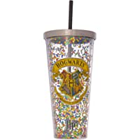 Spoontiques 21321 Hogwarts Glitter Cup w/Straw, 20 Ounces, Multicolored