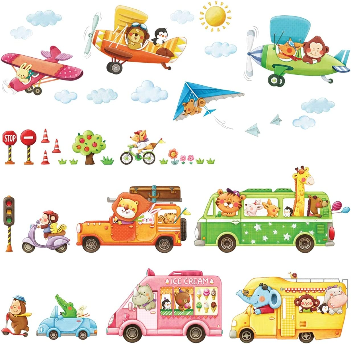 DECOWALL DAT-1806P1506B Animal Transports and Biplanes Kids Wall Stickers Wall Decals Peel and Stick Removable Wall Stickers for Kids Nursery Bedroom Living Room