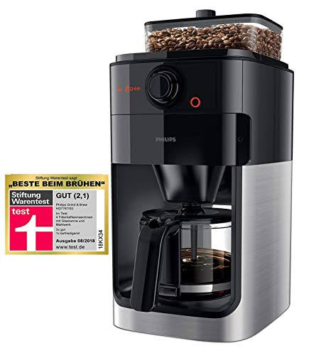 Philips Grind & Brew HD7767/00 - Cafetera (Independiente, Cafetera de filtro, 1,2 L, Molinillo integrado, 1000 W, Negro, Acero inoxidable)