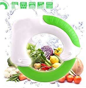 Chef's Innovation Rolling Knife Circular Kitchen Cutter, Cutting Meat Vegetables Salad and Pizza, Green