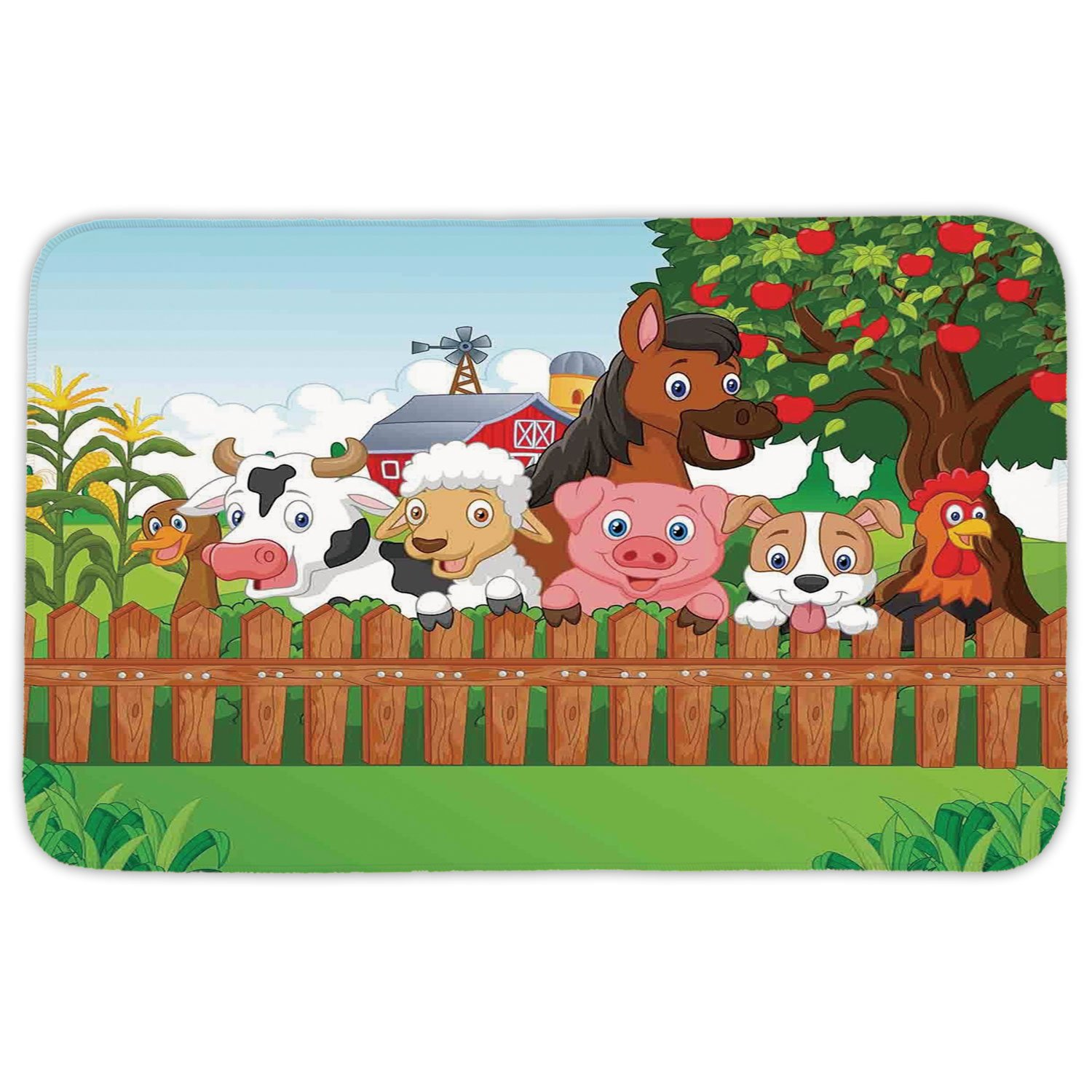 Rectangular Area Rug Mat Rug,Cartoon,Cute Farm Animals on the Fence Comic Mascots with Dog Cow Horse for Kids Decor Decorative,Multi,Home Decor Mat with Non Slip Backing