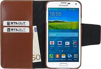 StilGut Talis, custodia in vera pelle con scomparti ad utilizzo portafoglio per Samsung Galaxy S5, cognac