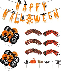 Halloween Party Decorations Kit Cardboard Banner Latex Balloons Cupcake Toppers and Wrappers Set for Indoor Outdoor Decor