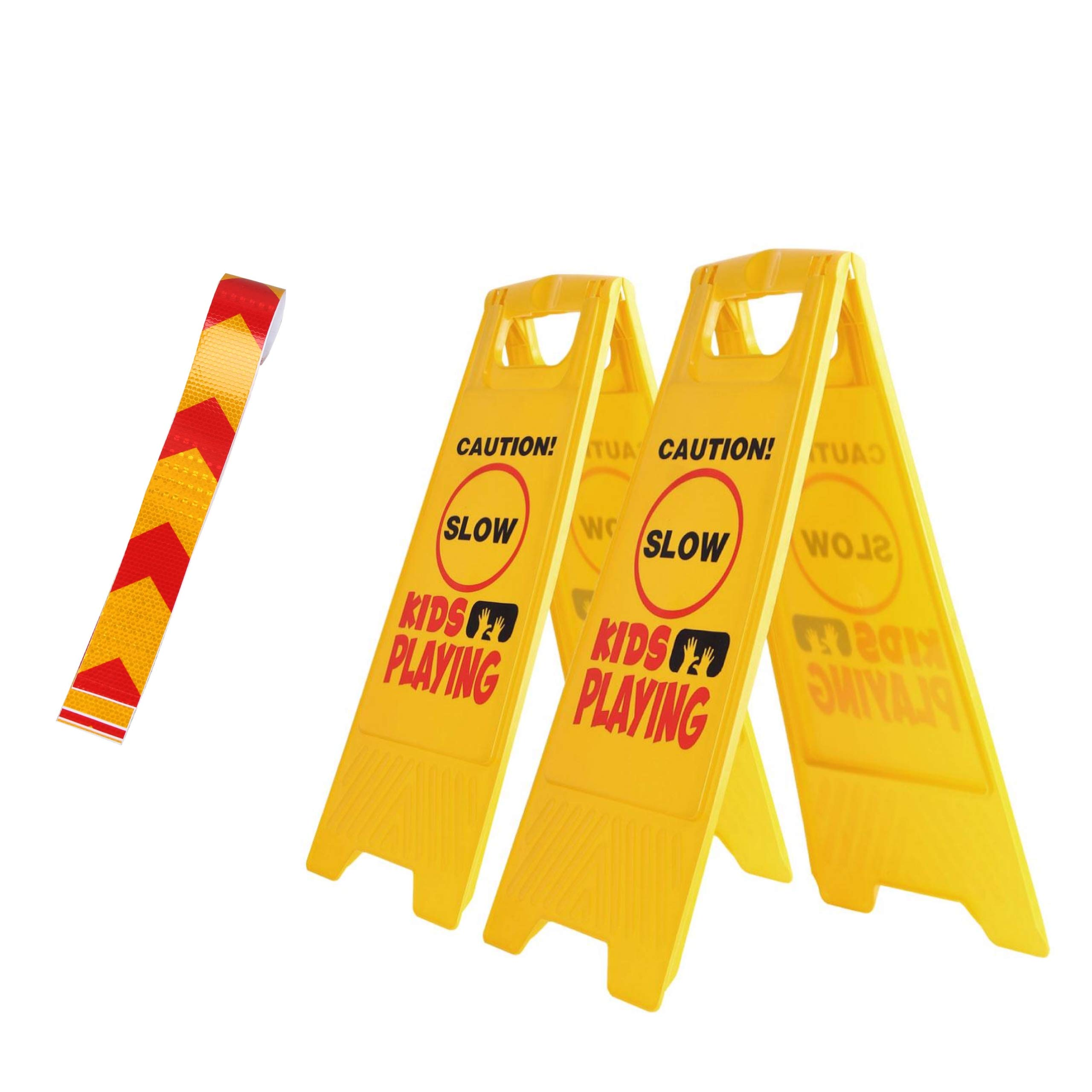 2 Pack Kid Playing Caution Sign - Children Safety Slow Road Yard Sign - Double Sided Sign Bundled with Reflective Tape by Budgetizer