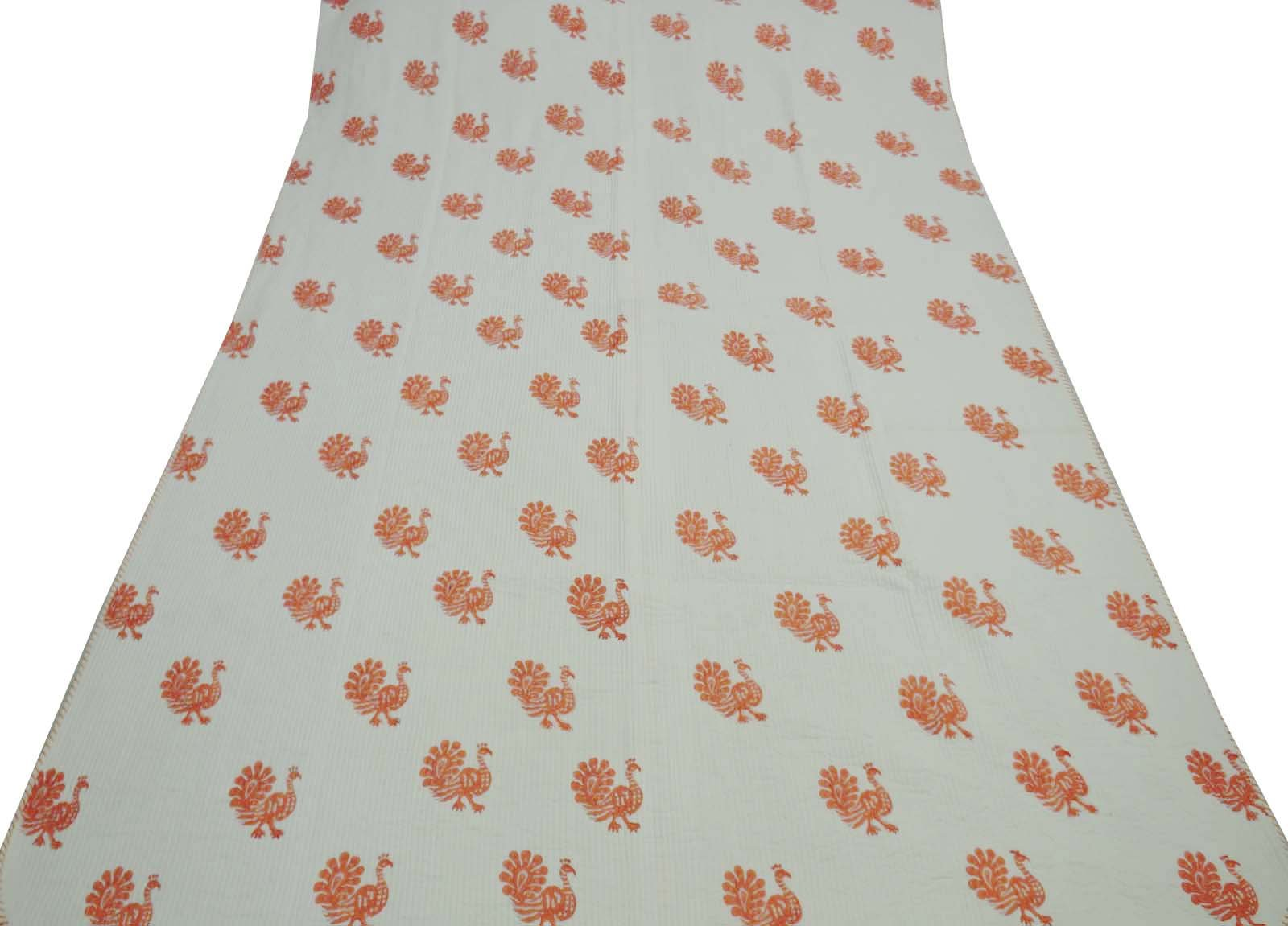 Indian Queen Size Cotton Filled Off White Gudri Hand Block Print Quilt Home Decor