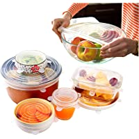 Silicone Stretch Lids Small 6 Pack (Size 2 and 3 Clear) By A Thousand Trees | 2 Sizes Reusable, Expandable and Durable Lids to Keep Food Fresh | Leak Proof and Heat Resistant | Fit Various Sizes and Shapes of Containers | Food Grade Silicone, Eco-Friendly and BPA-FREE | Container Lids, Container Covers and Bowl Covers