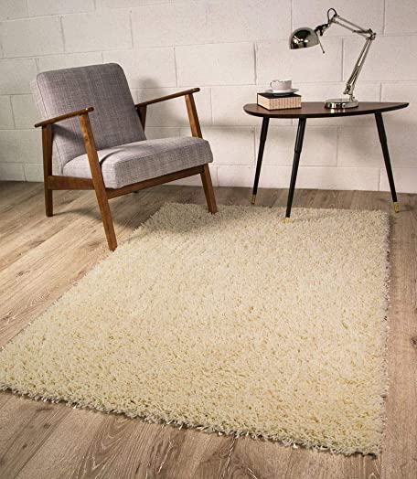 Plain Cream Natural Vanilla Dense Pile Soft Shaggy Shag Area Rug 5'11″ x 8'11″