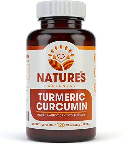 1600mg Organic Turmeric Curcumin w Bioperine and Black Pepper Non-GMO Natural Pain Relief Joint Support Highest Potency with 95 Standardized Curcuminoids Gluten Free 120 Vegetarian Caps