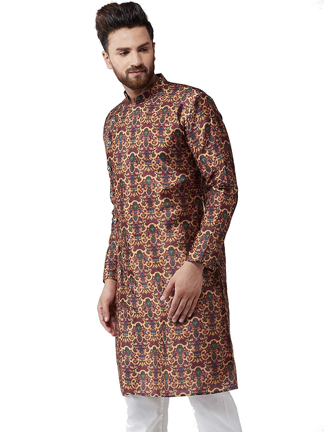 Festival-Men-Dupion-Silk-Kurta-Pajama-Ethnic-Party-Wear-Bollywood-Dress-Pyjama thumbnail 25