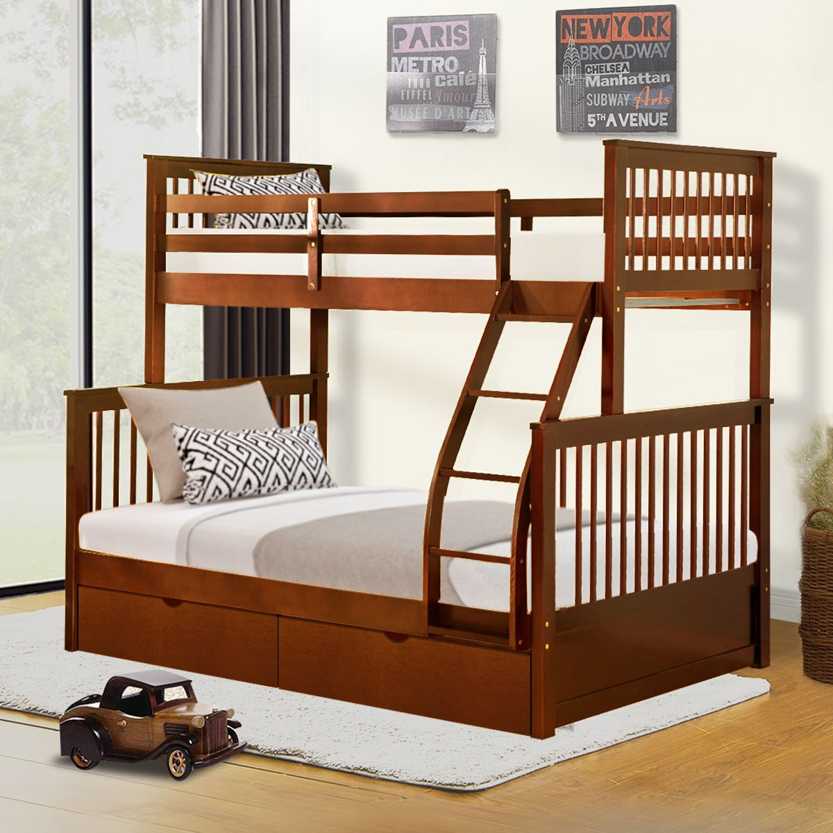 Knocbel Solid Wood Bunk Bed Twin-Over-Full for Kids with Ladders and 2 Storage Drawers Walnut