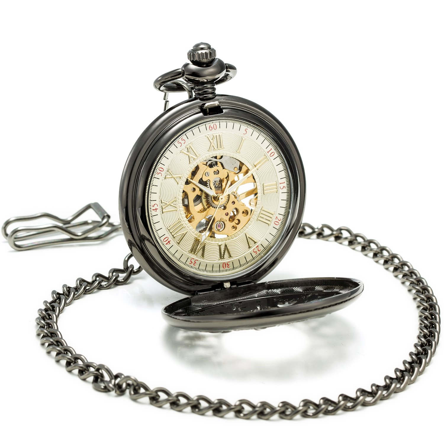 SEWOR Grace Koi Skeleton Pocket Watch Black Mechanical Hand Wind with Leather Gift Box (Black) by SEWOR (Image #3)