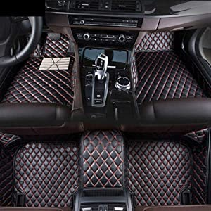 8X-SPEED Custom Car Floor Mats Fit for BMW 4 Series F32 420i 425i 428i 430i 435i 440i 2014-2017 Full Coverage All Weather Protection Waterproof Non-Slip Leather Liner Set Black Red
