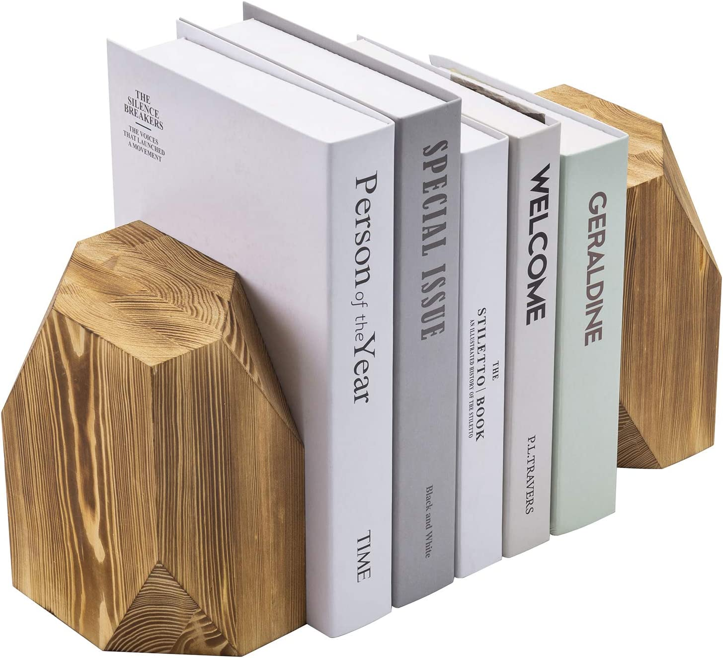 MyGift 2 Piece Set Vintage Gray Solid Wood Bookends with Brass Tone Metal Supports