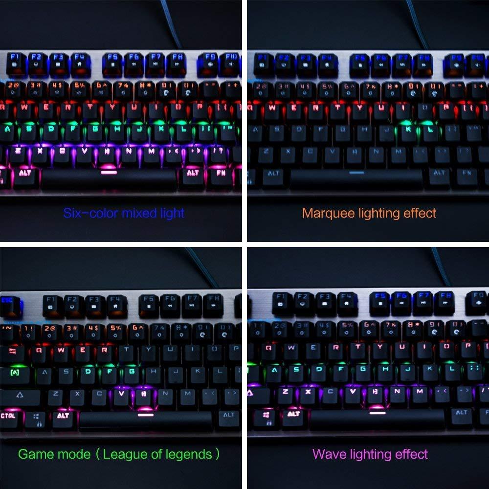 Teclado Mecánico RGB 104 Teclas US-Layout Keyboard USB con Cable LED de 6 colores Luz ajustableTeclado Gaming para PC Portátil Plug and play: Amazon.es: ...