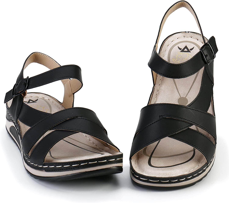 Alexis Leroy Sandales Plateforme Femme Chaussures d/ét/é Sandales /à Boucle
