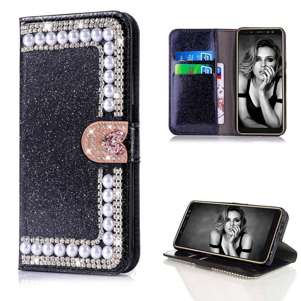 Diamond Case for Samsung Galaxy A8 Plus 2018,Cistor Luxury Black Glitter 3D Pearl Wallet Case Samsung Galaxy A8 Plus 2018,Shockproof PU Leather Case with Love Heart Magnetic Closure Card Slot Cover