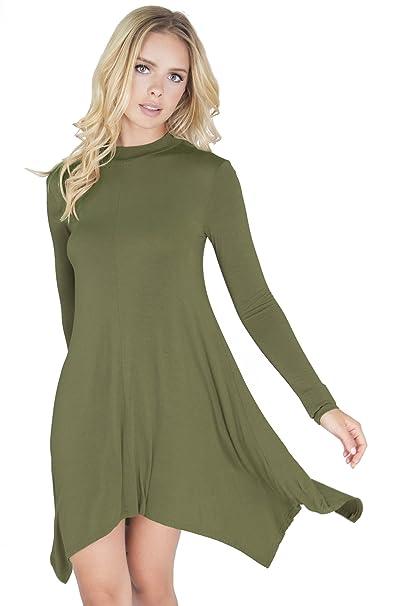 Blooms Closet Womens Long Sleeve Mock Neck Dressy Handkerchief Tunic Shirt  Dress at Amazon Women s Clothing store  e93724f12