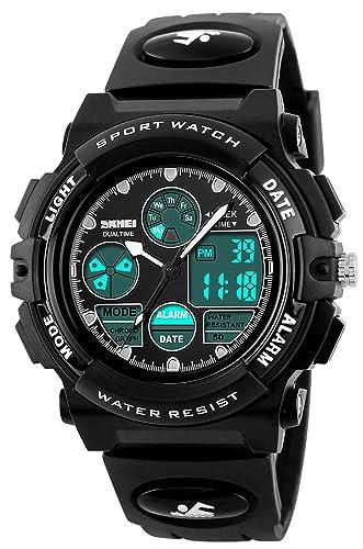 carlien niños reloj relojes buceo deportes Dual Display Relojes de pulsera LED reloj Digital reloj de pulsera para niños niñas estudiantes reloj de pulsera: ...