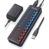 WENTER Hub USB 3.0 Alimentado 11 en 1, 7 Puertos USB 3.0 y 4 Puertos Quick Charge Indicador LED con Adaptador de…
