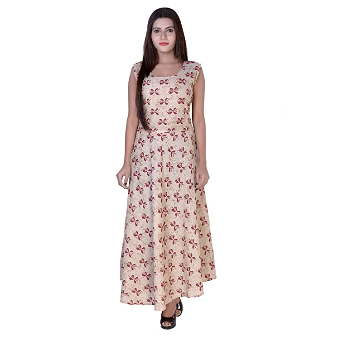 1487d3782bb9 fabcolors Indo Western Maxi Dress for Women - Free Size Cotton Maxi Dress -  Brown  Amazon.in  Clothing   Accessories