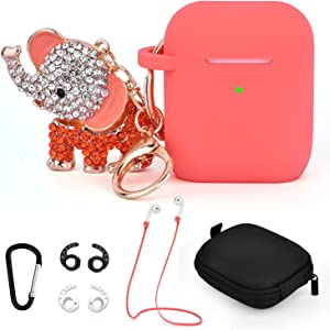 TOROTOP Compatible for Airpods Case Keychain Set, 7 in 1 Silicone Protective Airpod Case Cover Accessories with Bling Elephant Keychain/Strap/Ear Hook/Storage Box Compatible for Apple Airpods 2& 1