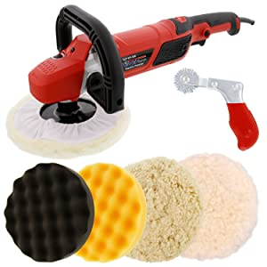 "TCP Global 7"" Professional High Performance Variable Speed Polisher with a 4 Pad Buffing and Polishing Kit and a Pad Cleaning Spur - Buff, Polish & Detail Car Auto Paint"