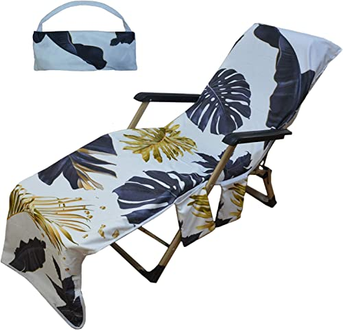 Generleo Beach Towel Home Fashions Beach Shawl Summer Coconut Palm Leaf Beach Lounge Pool Chair Cover Towel with 3 Fitted Pockets, Foldable, No Chair 85 L x 30 W