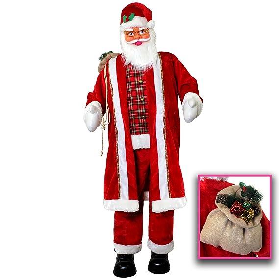 6ft CANTO Y BAILE Papá Noel - 182cm alto Papá Noel decoración Navidad - Gigante Papá Noel CANTANDO Y BAILE CON 5 DIFERENTES CANCIONES - Papá Noel Expositor ...