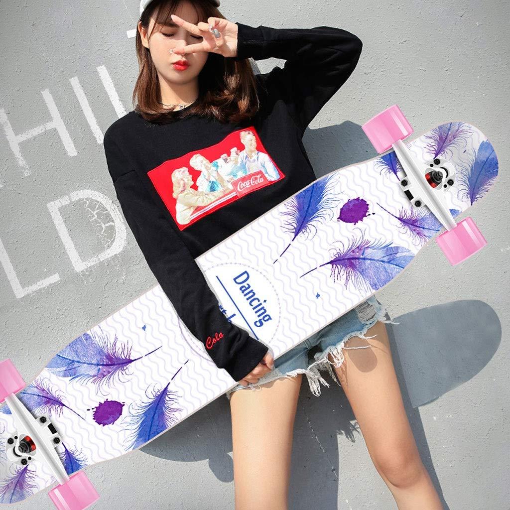 DUWEN スケートボードデッキメープルロングボード大人スケートボードティーンブラシストリートダンスボード大人初心者四輪プロスクーター (色 : F f) B07S99HHP7 F f