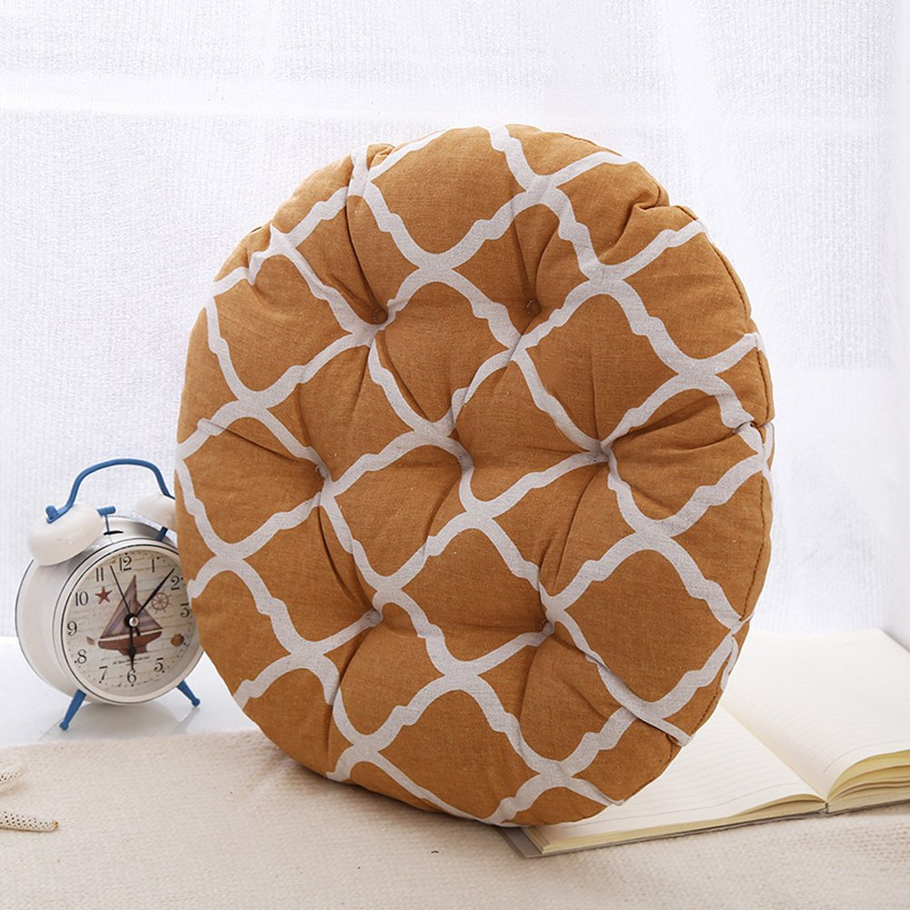 MEMORECOOL LIGHT UP YOUR HOME Modern Simple Round Floor Cushion, Futon Round Seat Cushion Window Pad Chair Cushion Sofa Pillow 23 Inch, Ginger Rhombus Set of 2 by MEMORECOOL LIGHT UP YOUR HOME (Image #1)